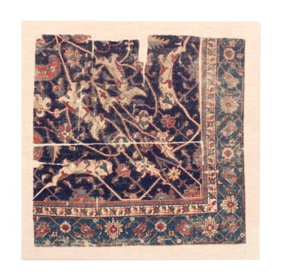 A TABRIZ MEDALLION CARPET FRAG