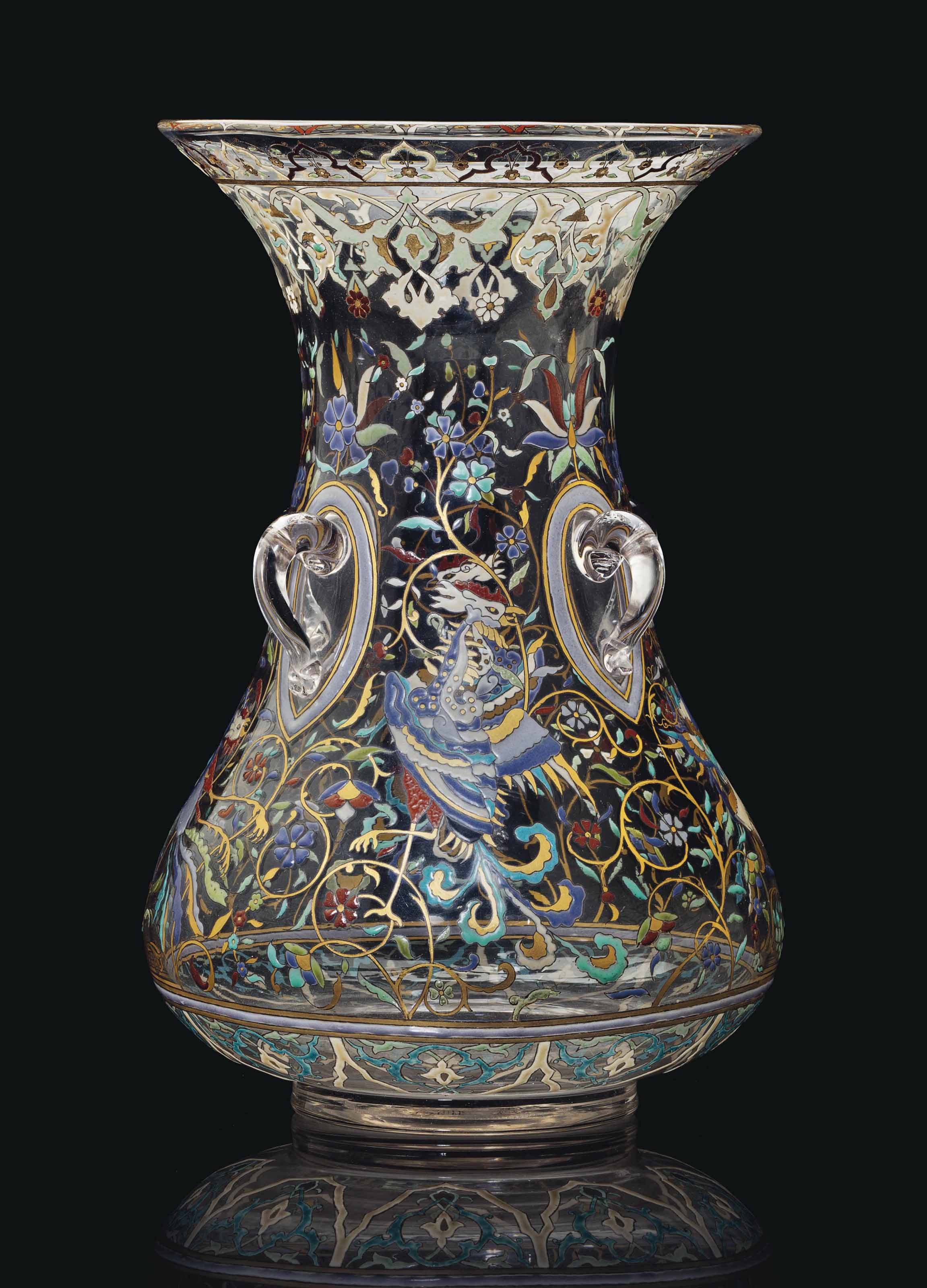 A FRENCH ENAMELED CLEAR GLASS