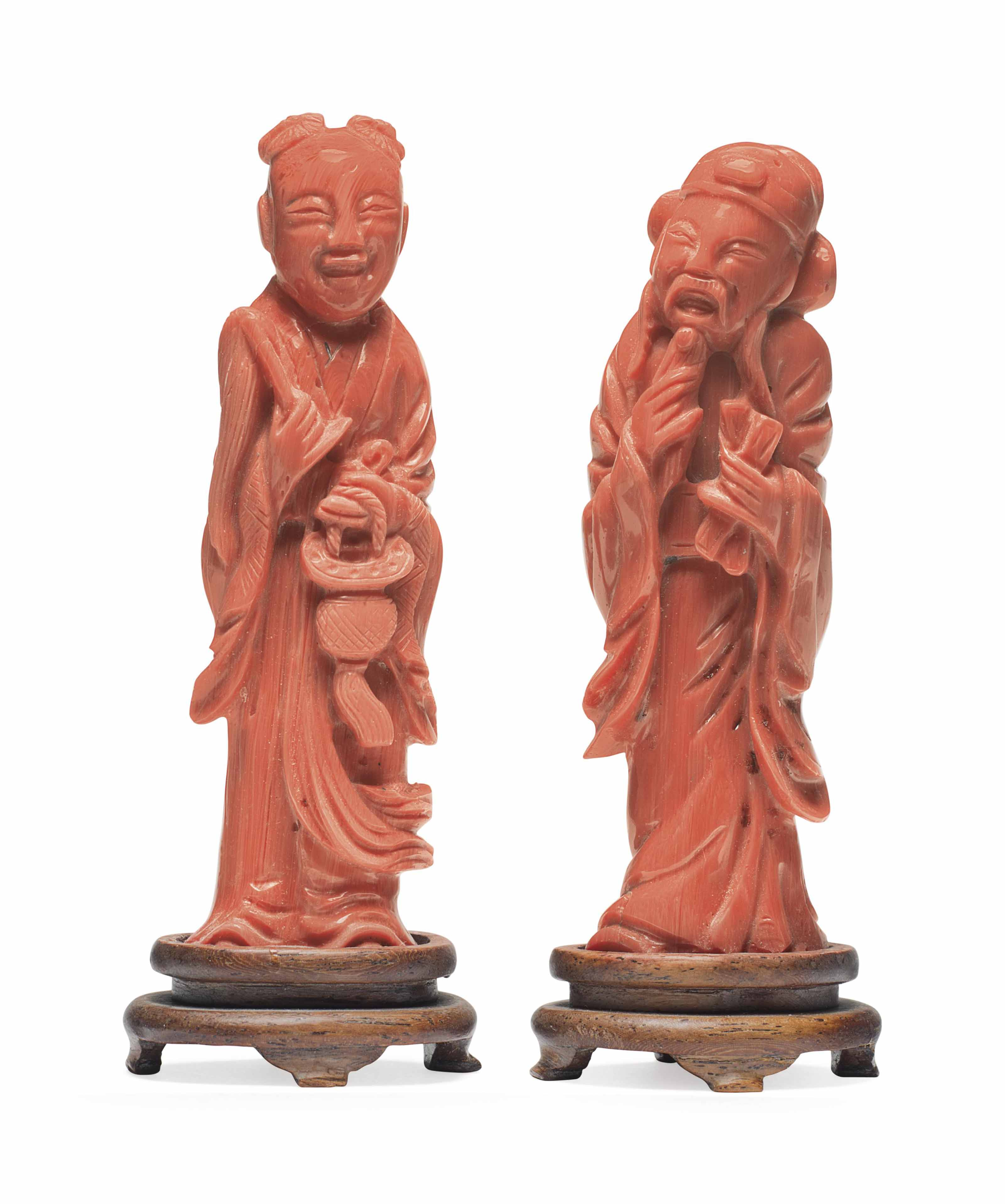of coral figurine Value asian