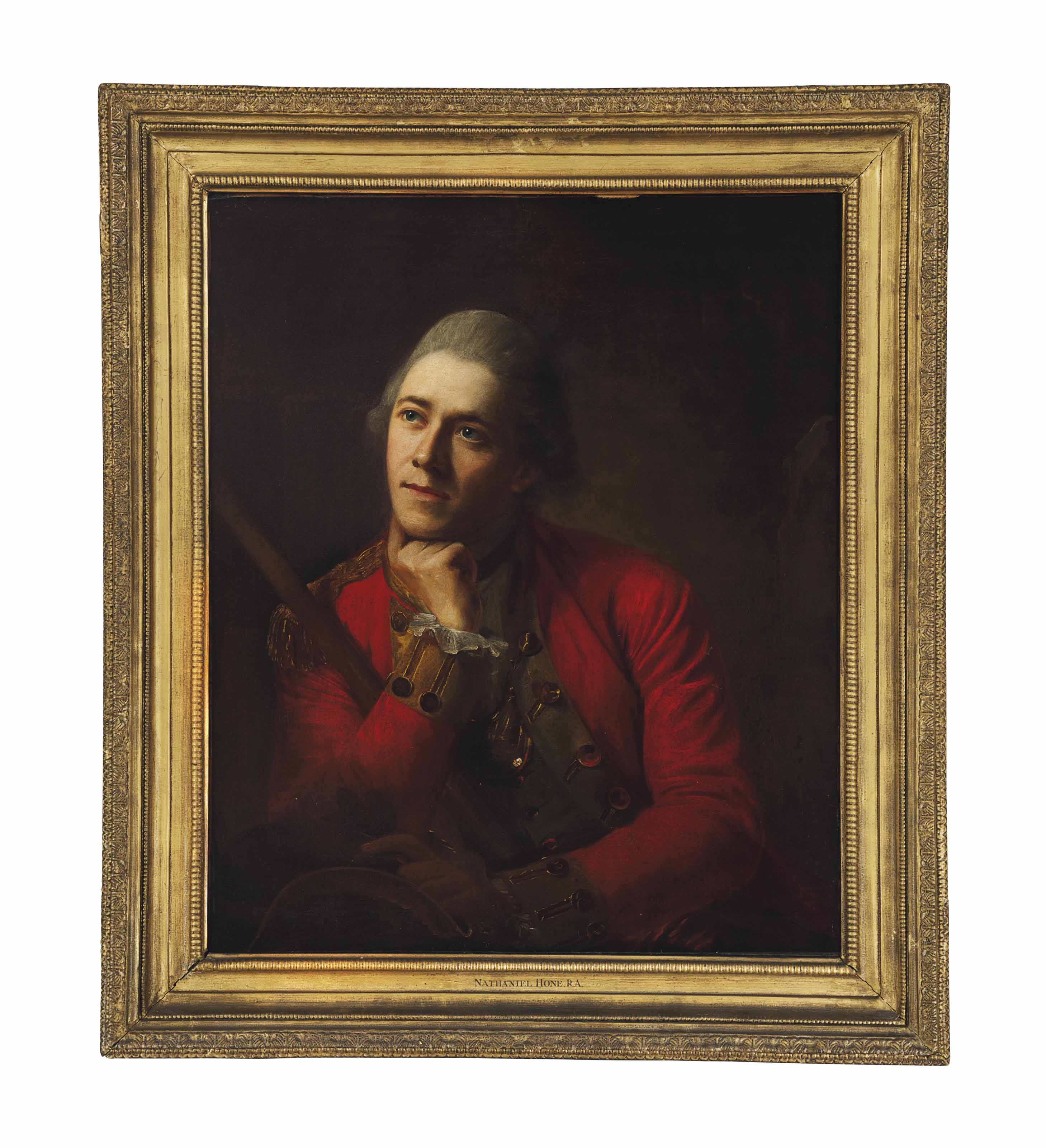 Portrait of the artist's son, Nathaniel Hone, Captain of the Wiltshire Militia and the 12th Foot (Suffolk Regiment), half-length