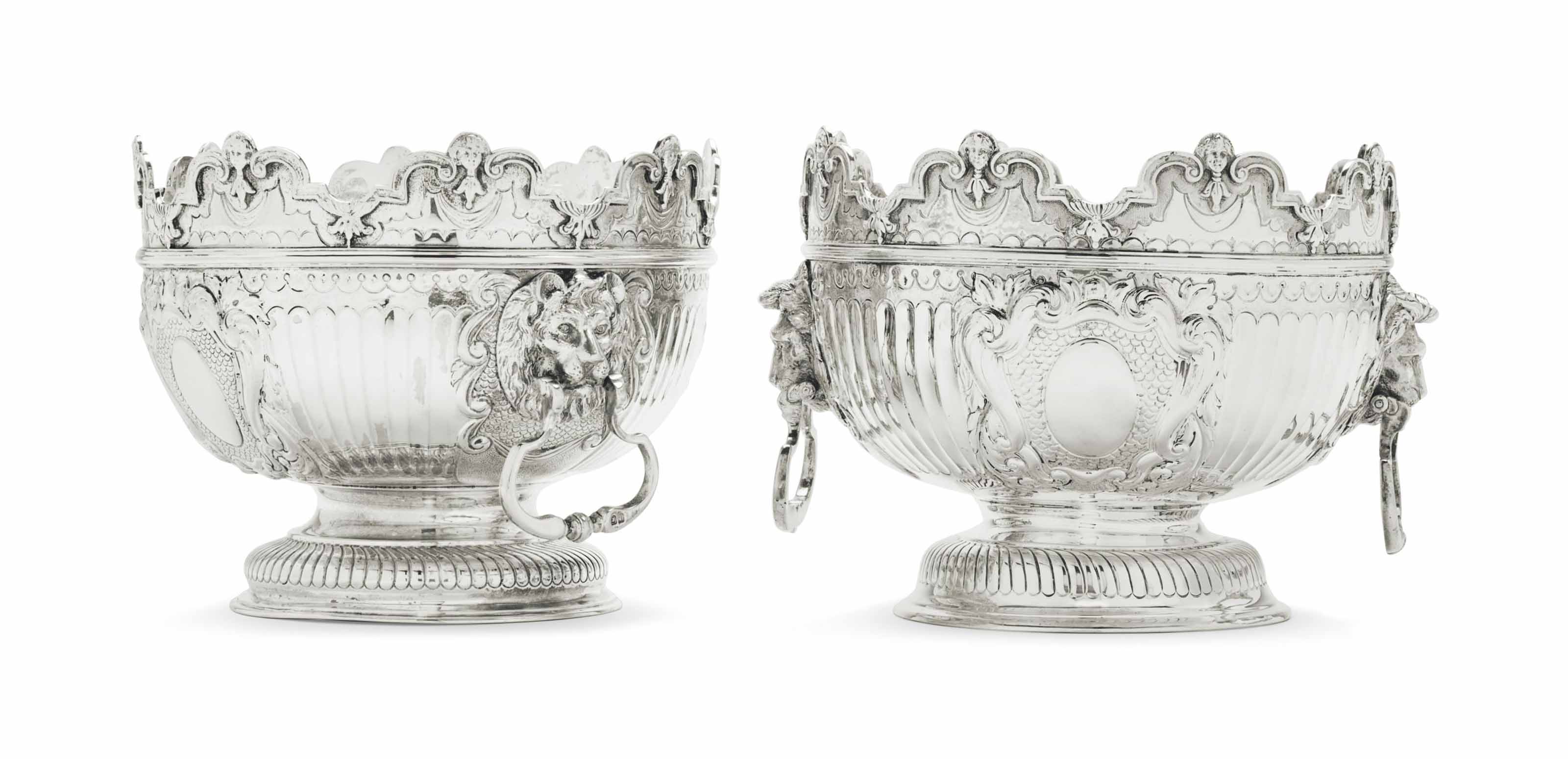 A PAIR OF GEORGE V SILVER SMALL MONTEITHS