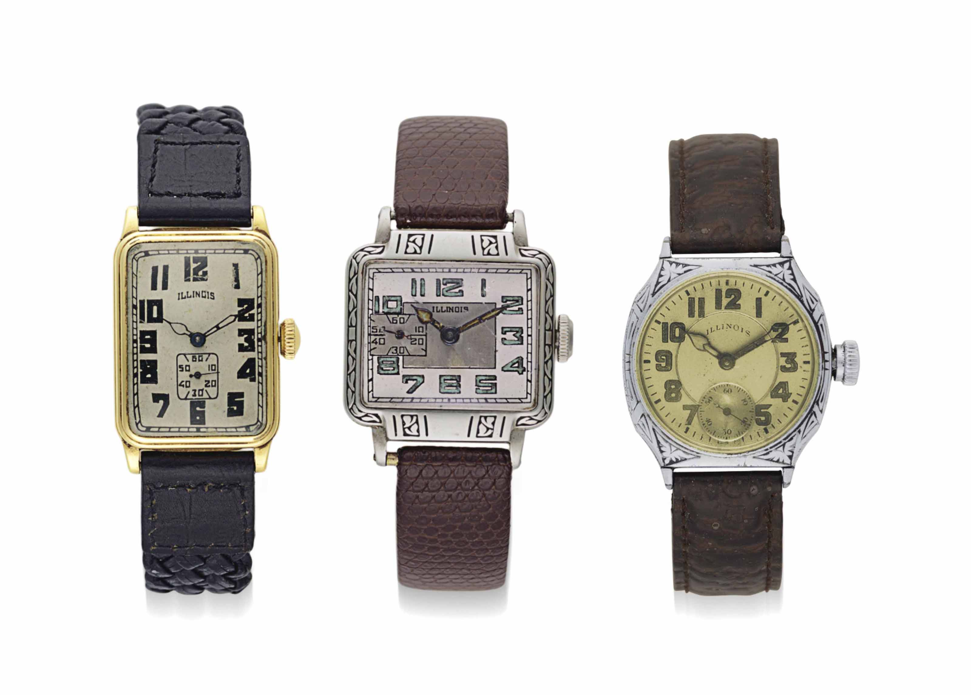 Illinois. A Lot of Three Wristwatches