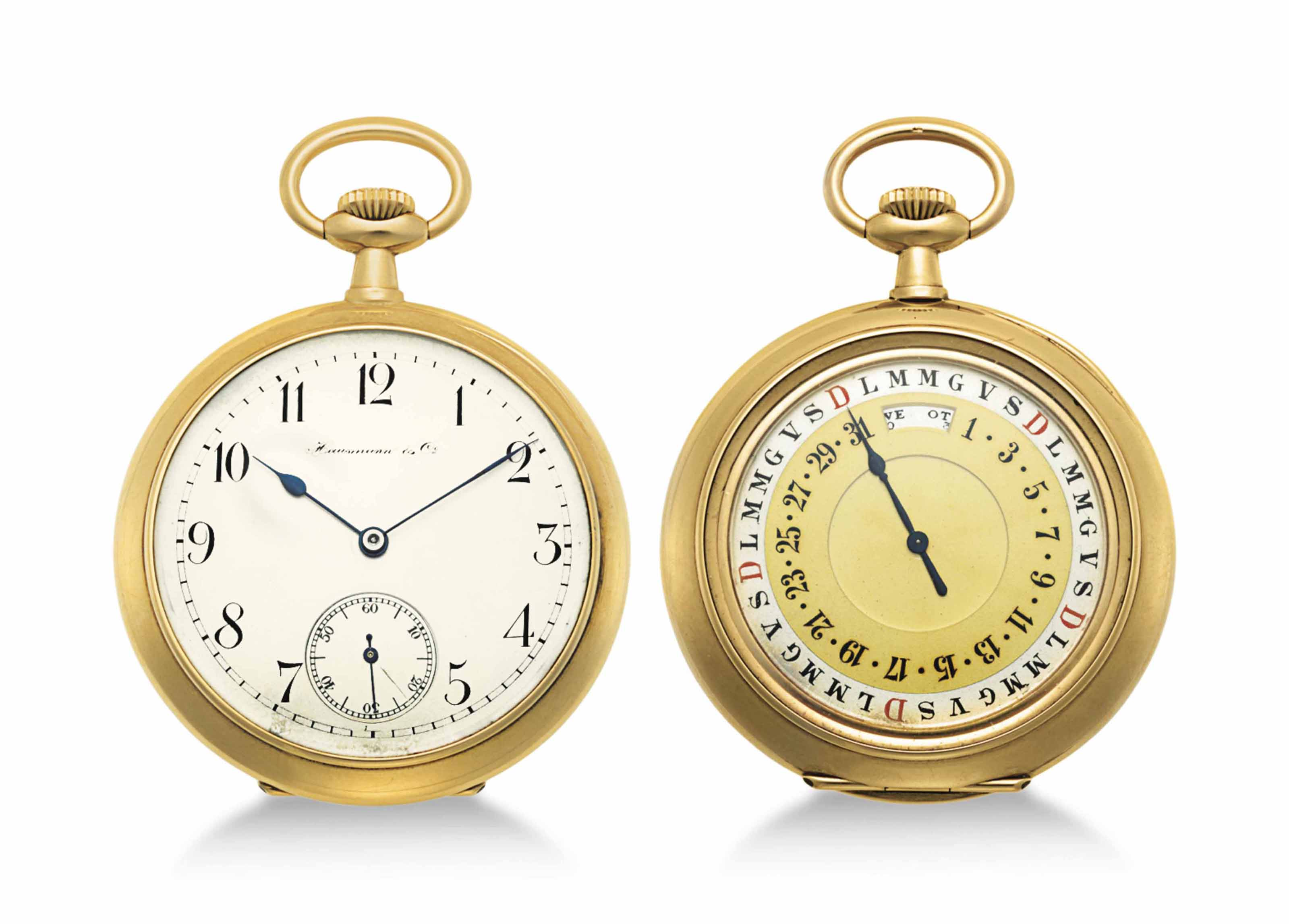 Hausmann & Co. An 18k Gold Openface Keyless Lever Watch with Day, Date and Month Indication