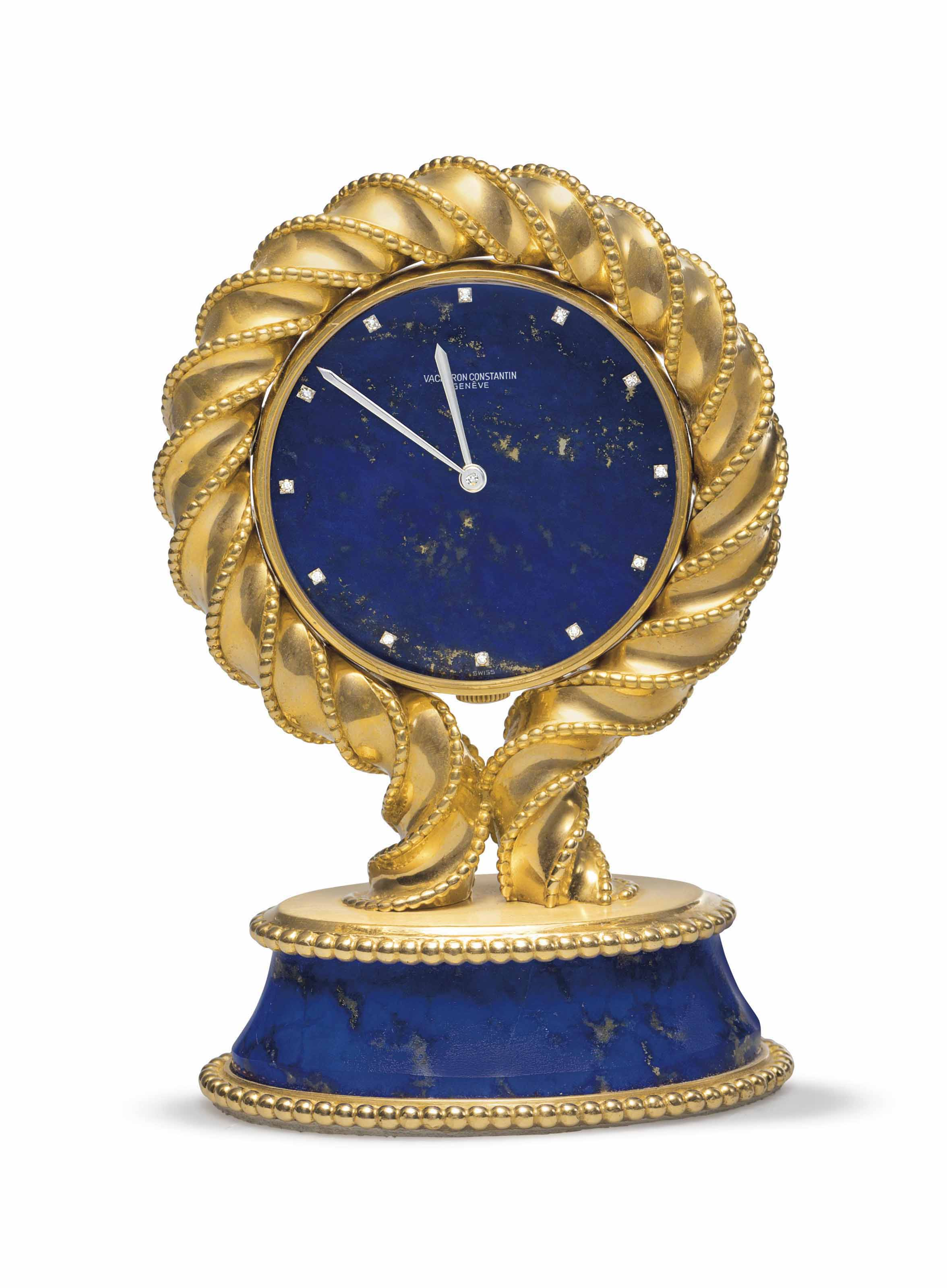 Vacheron Constantin. A Fine and Unusual 18k Gold and Lapis Lazuli Desk Clock with Diamond-set Numerals