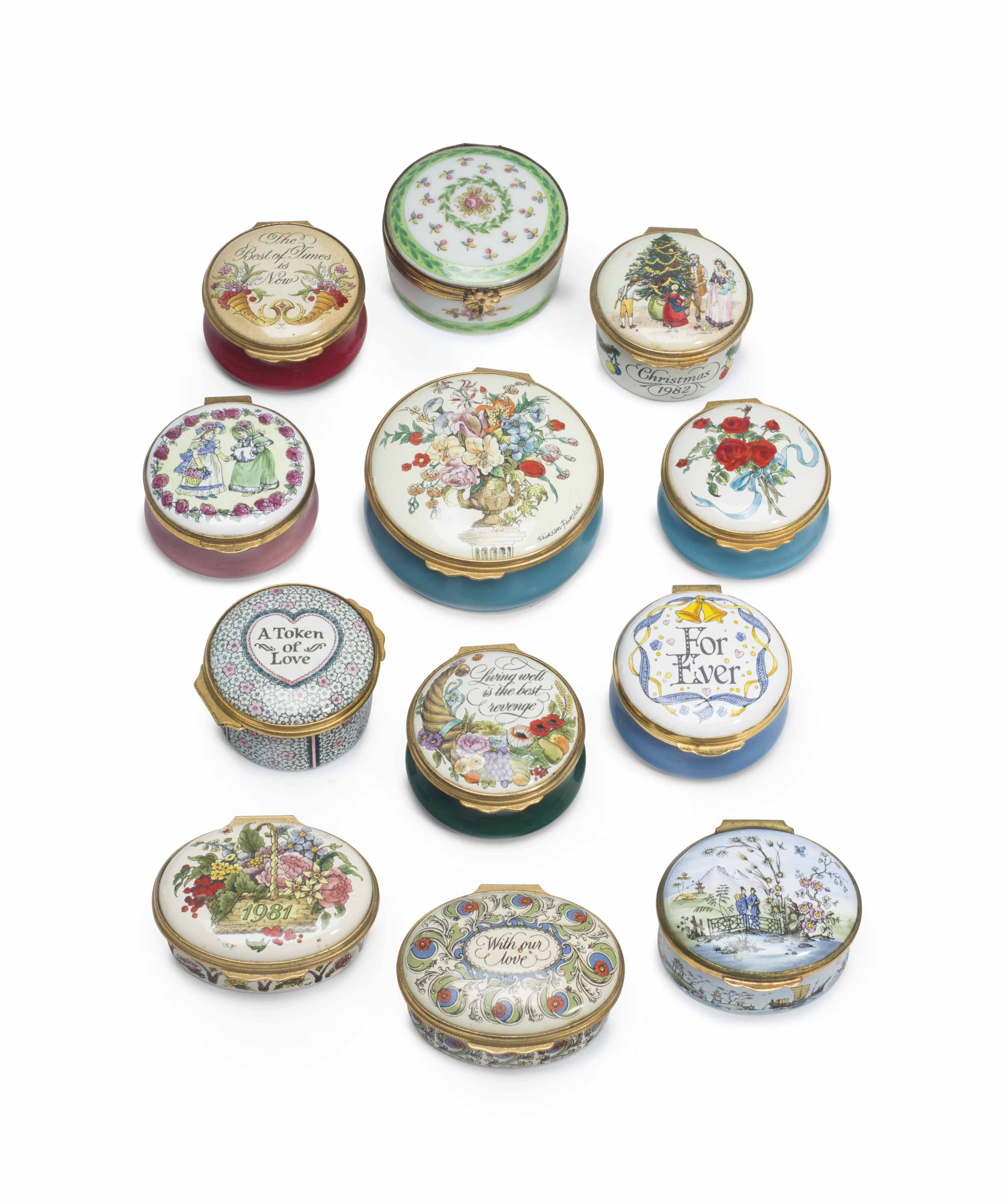 MRS RONALD REAGAN A COLLECTION OF TWELVE ENAMEL AND PORCEL...