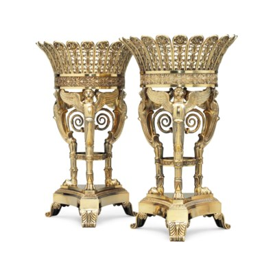 A PAIR OF FRENCH SILVER-GILT F