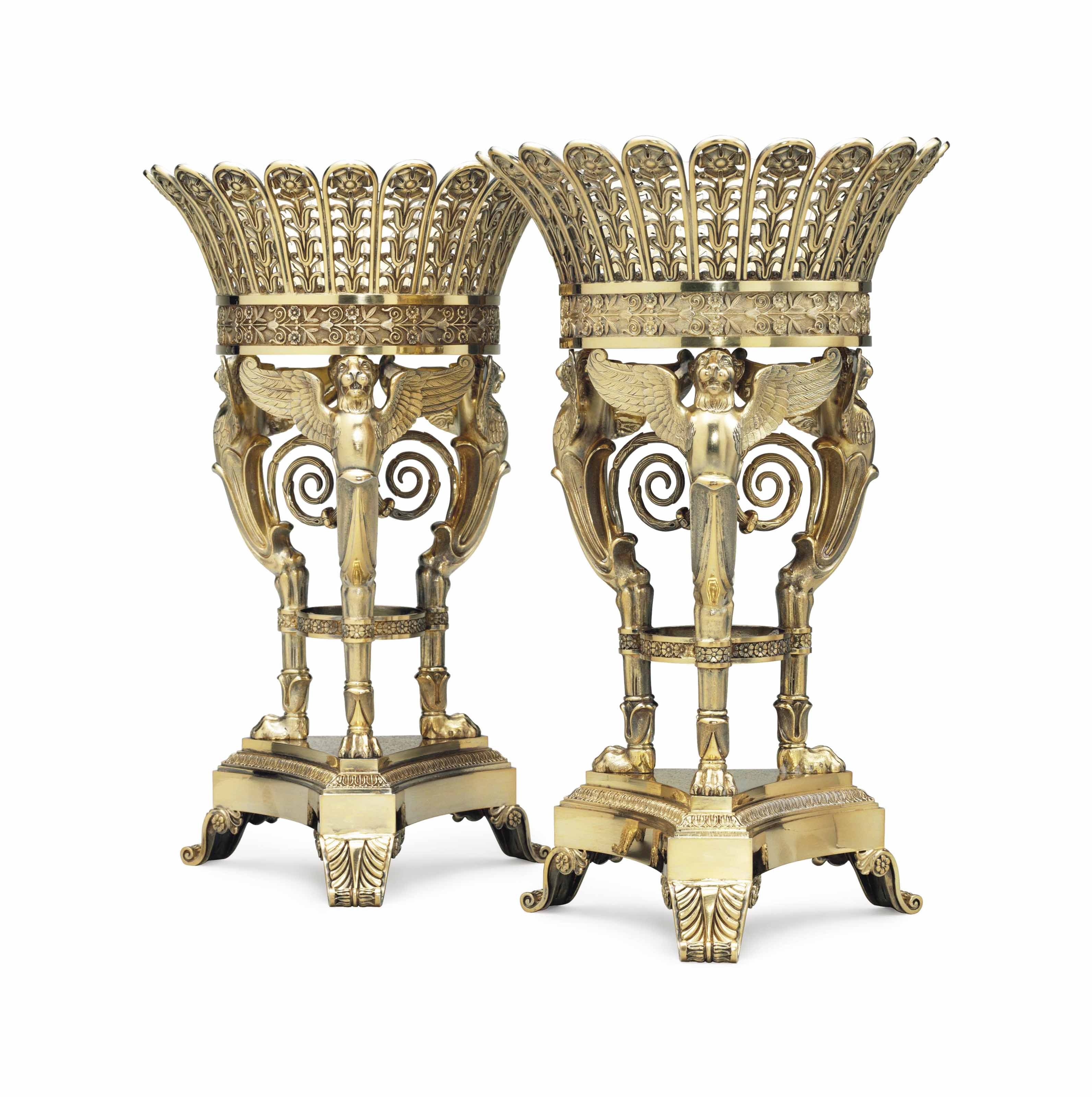 A PAIR OF FRENCH SILVER-GILT FRUIT STANDS