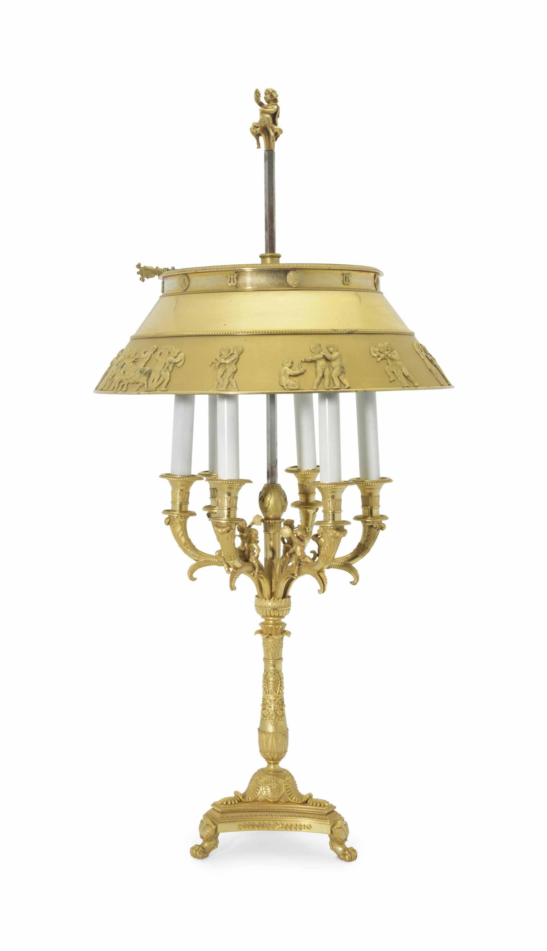 a empire style ormolu six light lampe de bureau late 20th century after a design by olivier. Black Bedroom Furniture Sets. Home Design Ideas