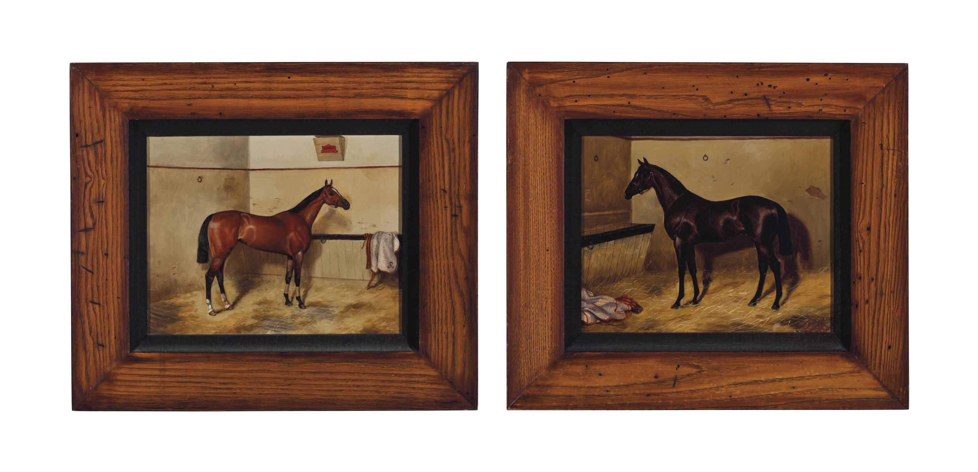 Horses in Stable (a pair)