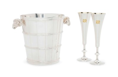 A FRENCH SILVER-PLATE CHAMPAGN