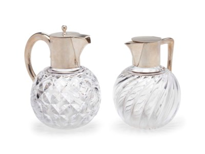 TWO VICTORIAN SILVER MOUNTED C