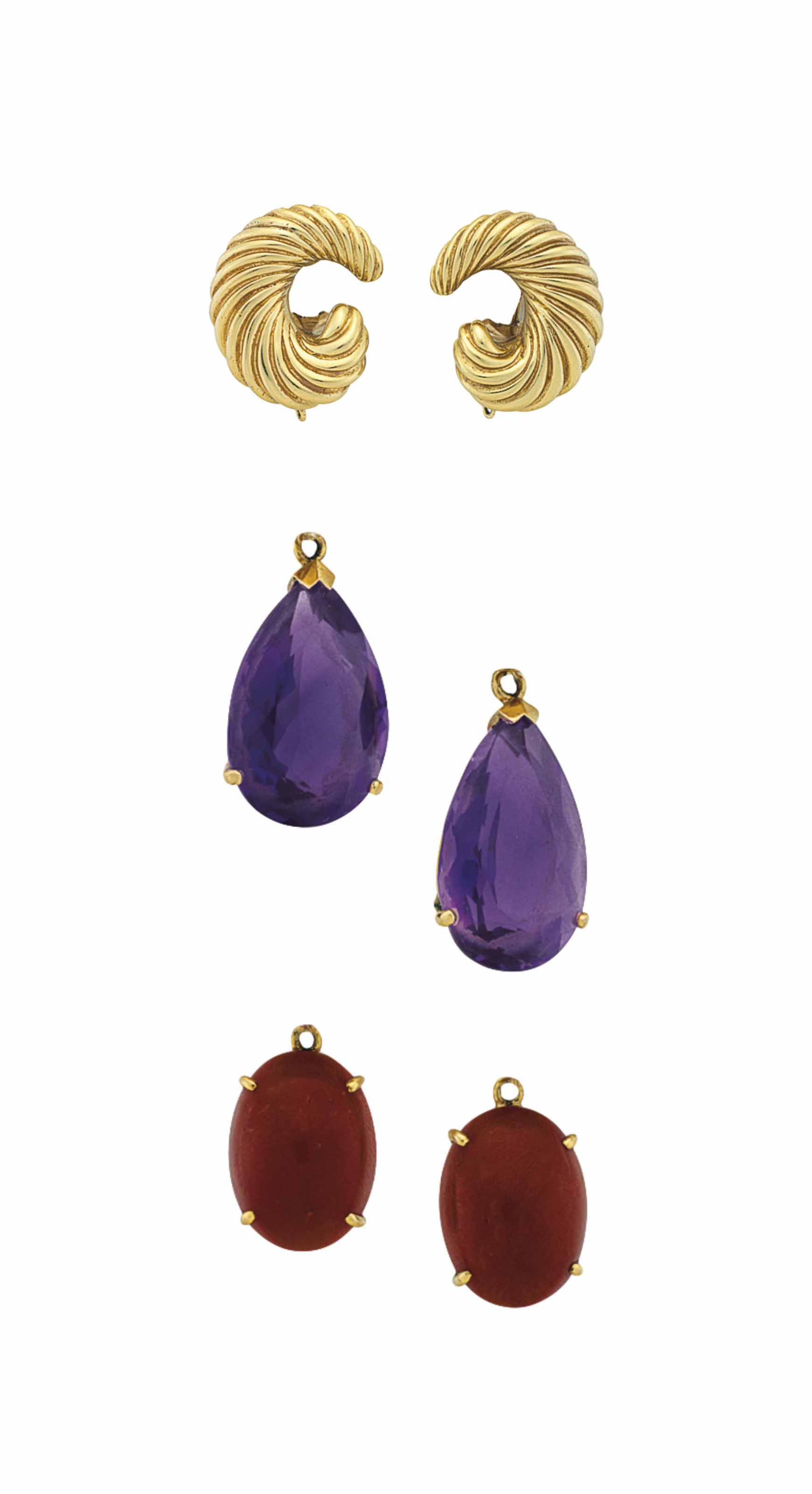 ~A PAIR OF GOLD EAR CLIPS, BY