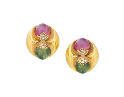 A PAIR OF TOURMALINE, DIAMOND