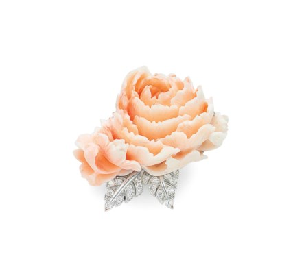 ~A CARVED CORAL AND DIAMOND BR