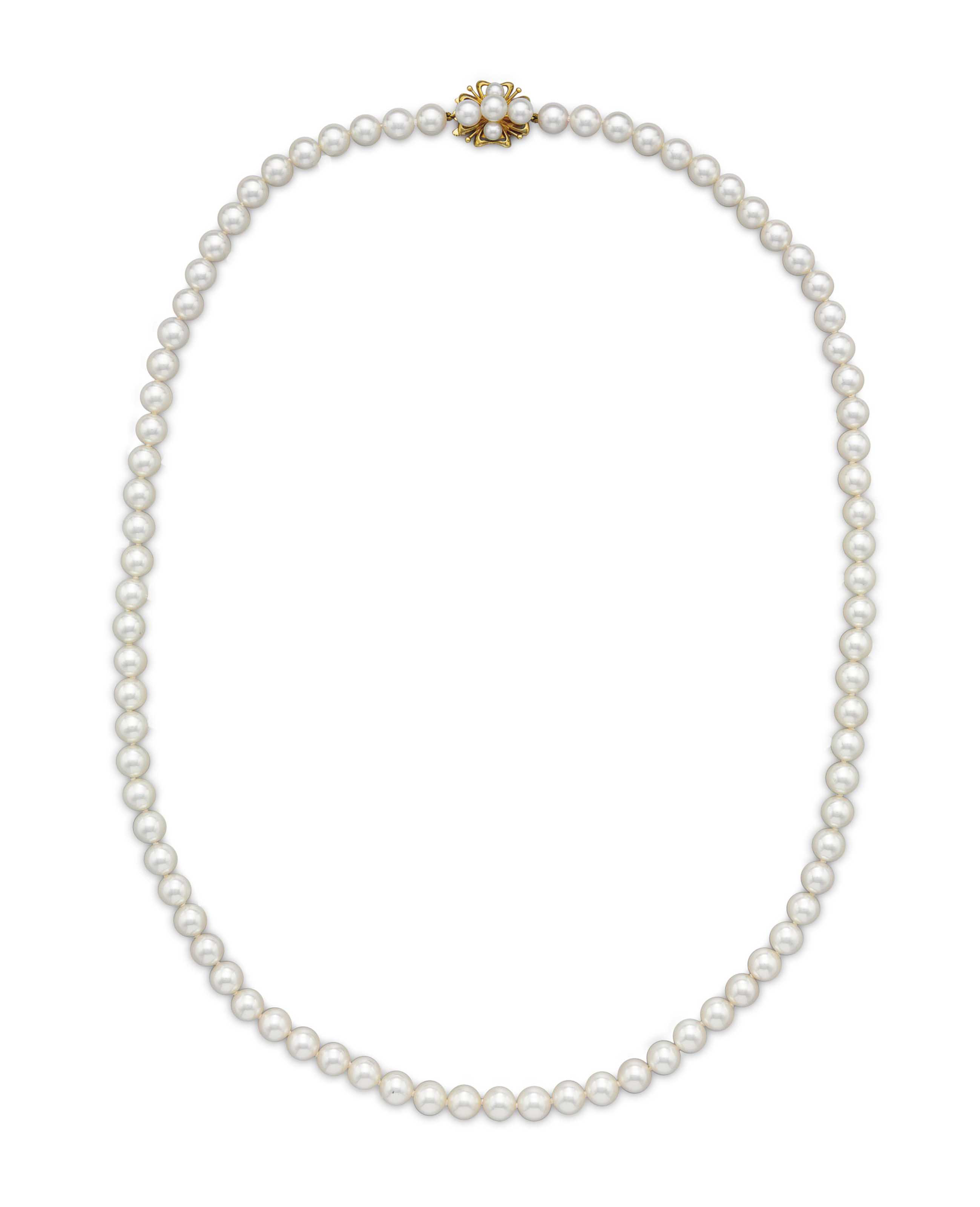 A SINGLE-STRAND CULTURED PEARL NECKLACE, BY MIKIMOTO