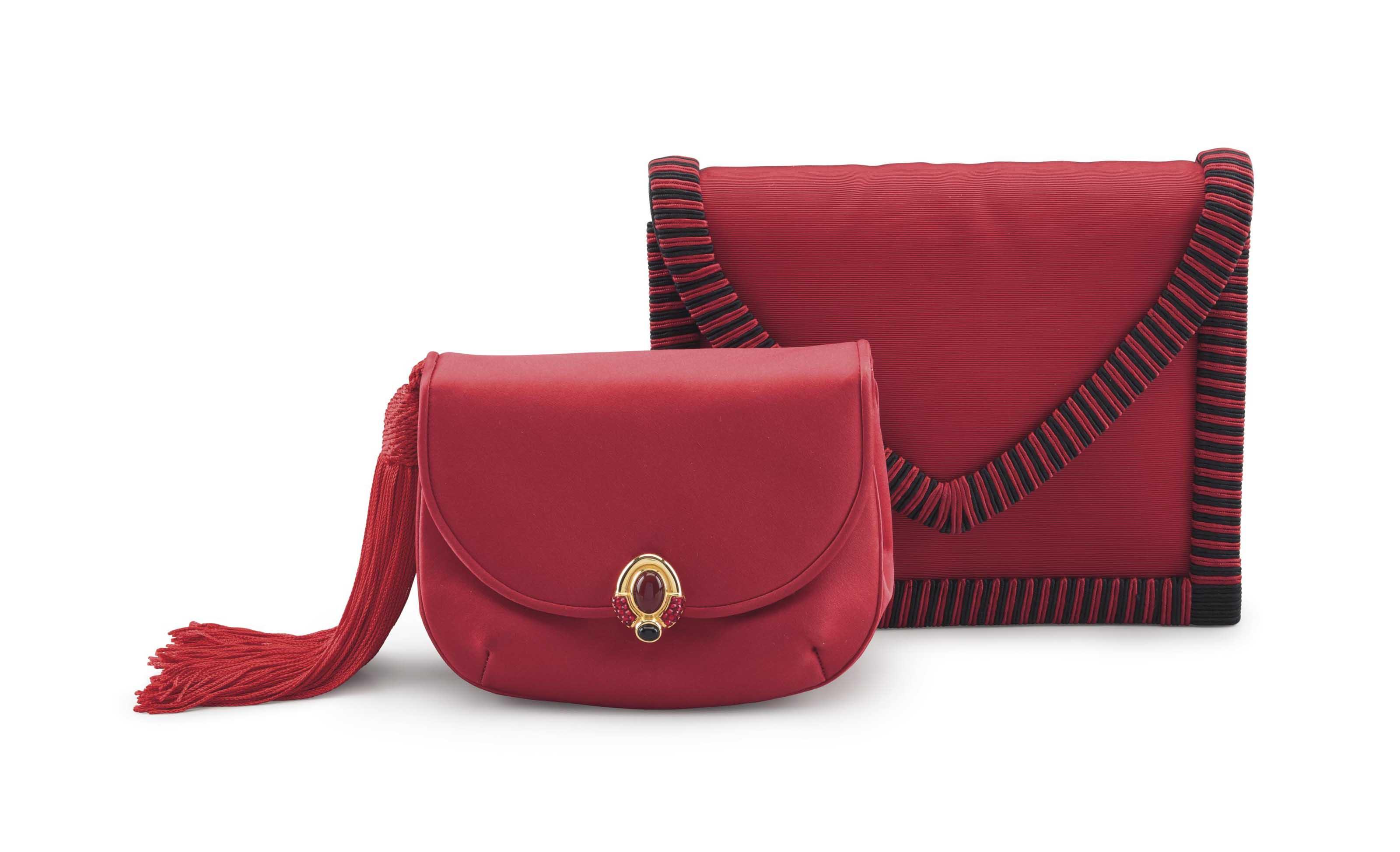 A RED SATIN TASSEL BOROSO CLUTCH BAG WITH CABOCHON And A RED U0026 BLACK GROSGRAIN ENVELOPE CLUTCH ...
