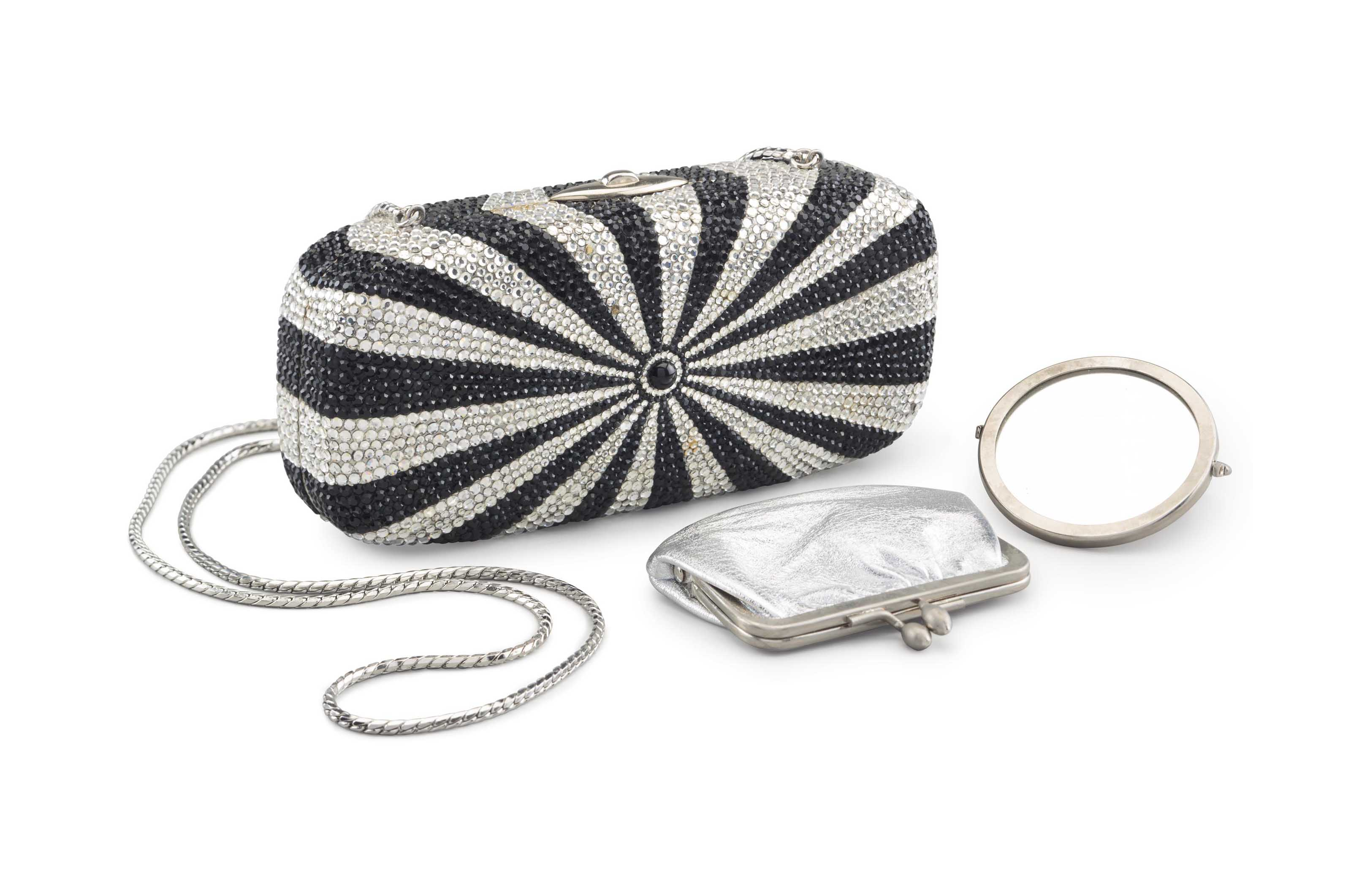 A BLACK & SILVER CRYSTAL BEADED BULLS-EYE BOX CLUTCH BAG
