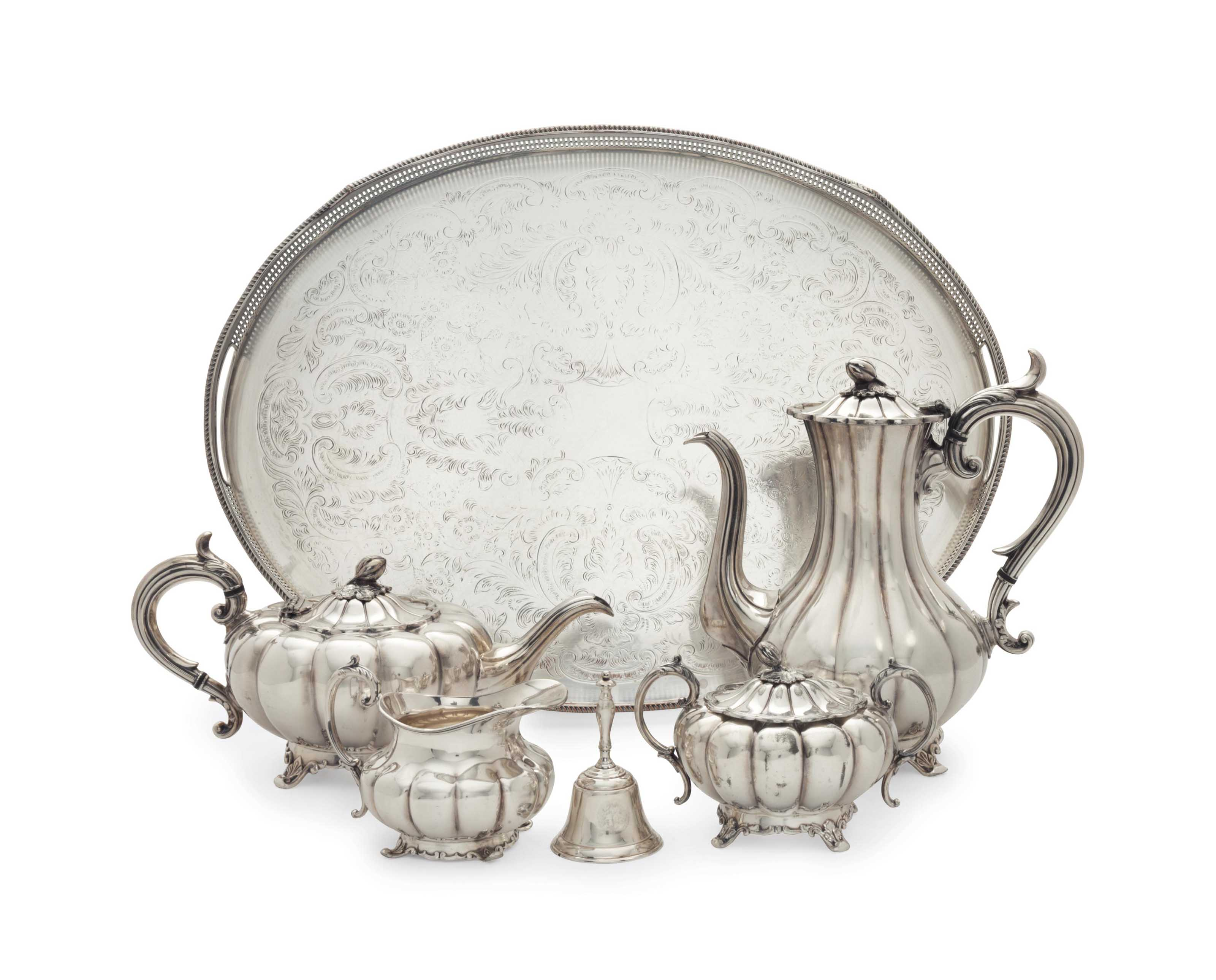 AN ENGLISH SILVER-PLATE FOUR-PIECE TEA AND COFFEE SERVICE, A SILVER-PLATE TRAY AND A TABLE BELL