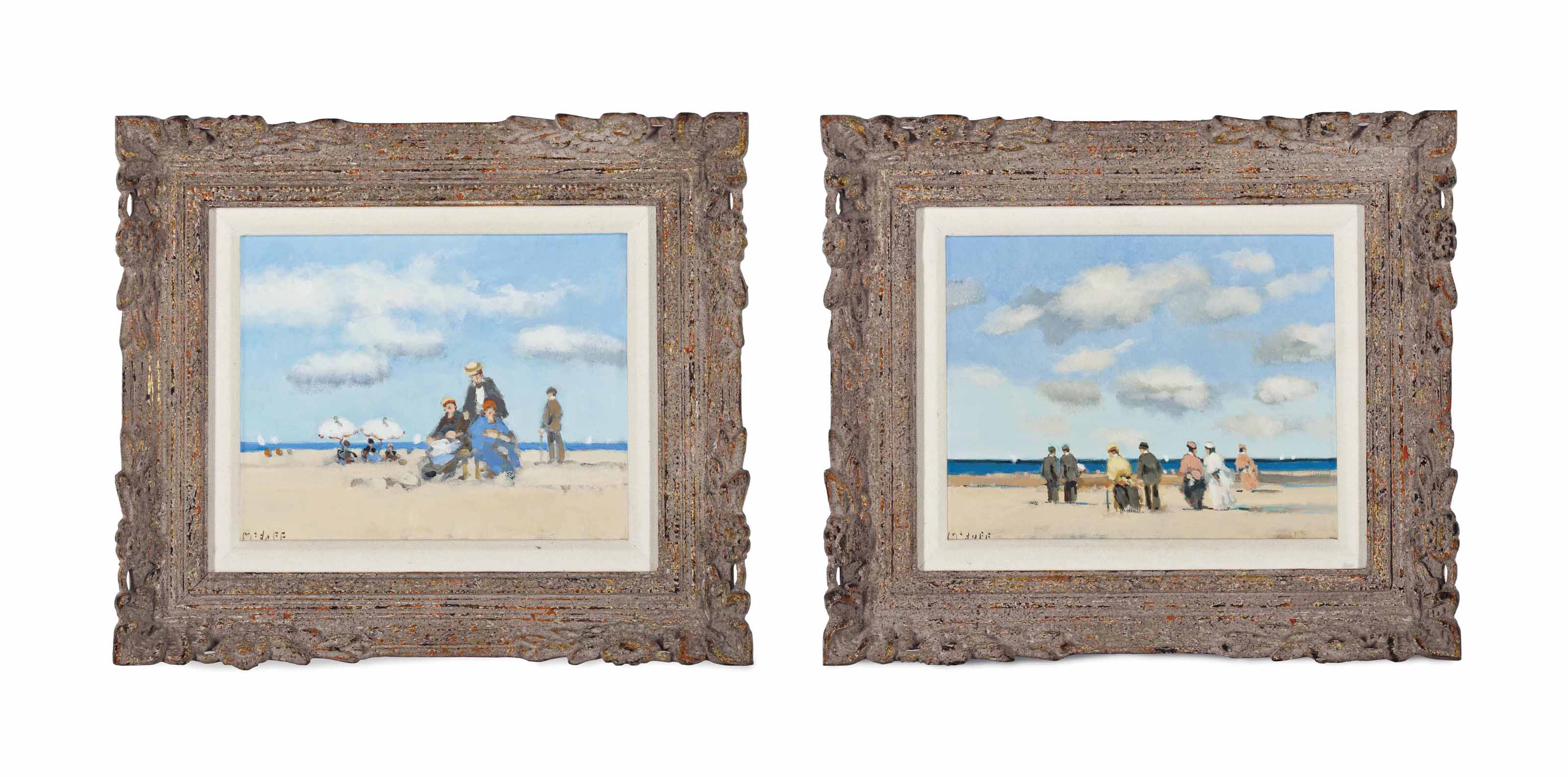 Figures on a Beach (two works)