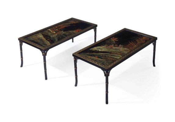 A PAIR OF BLACK-PAINTED AND CH