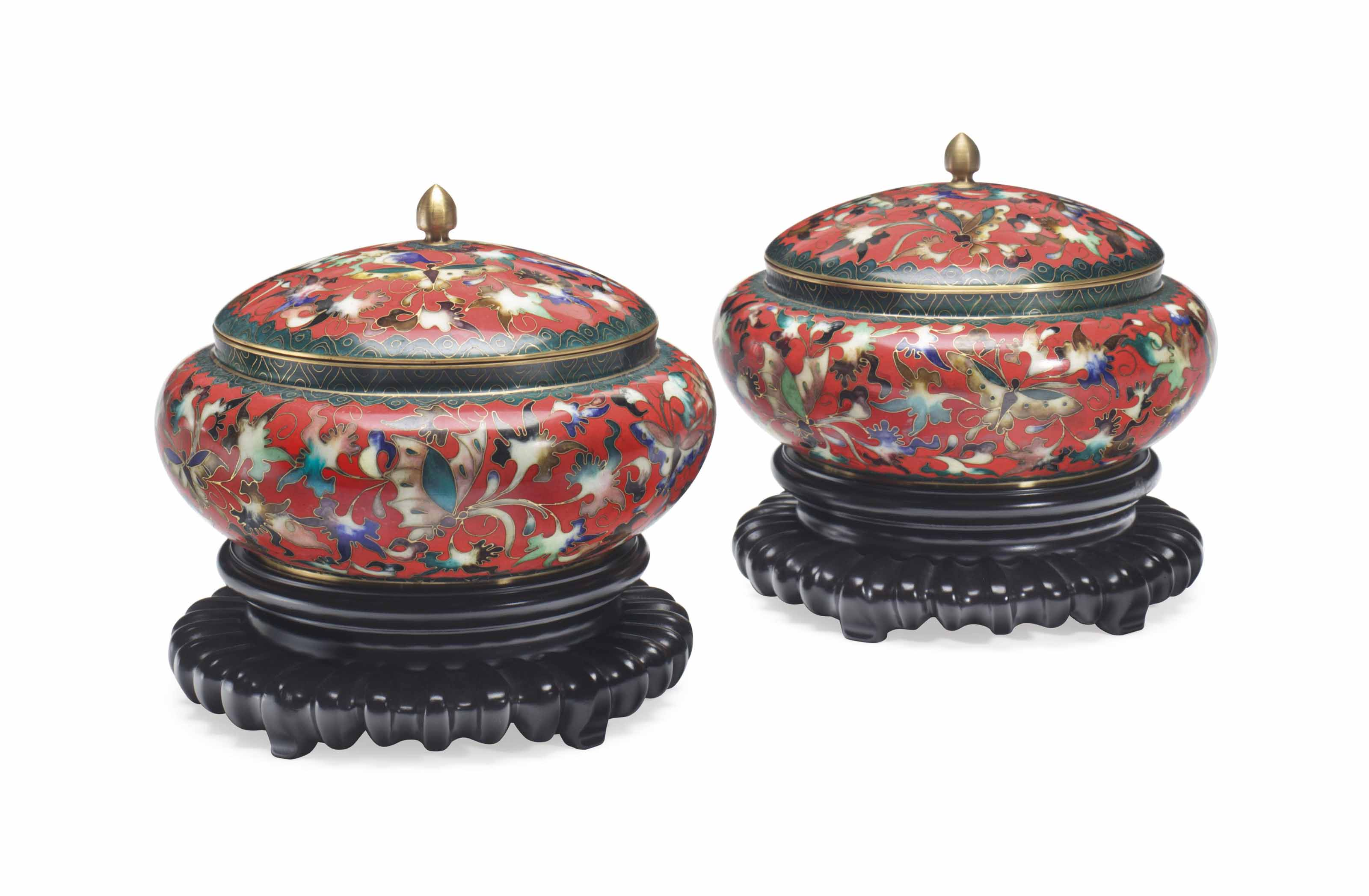 PRESIDENT AND MRS RONALD REAGAN A PAIR OF CHINESE CLOISONNÉ...