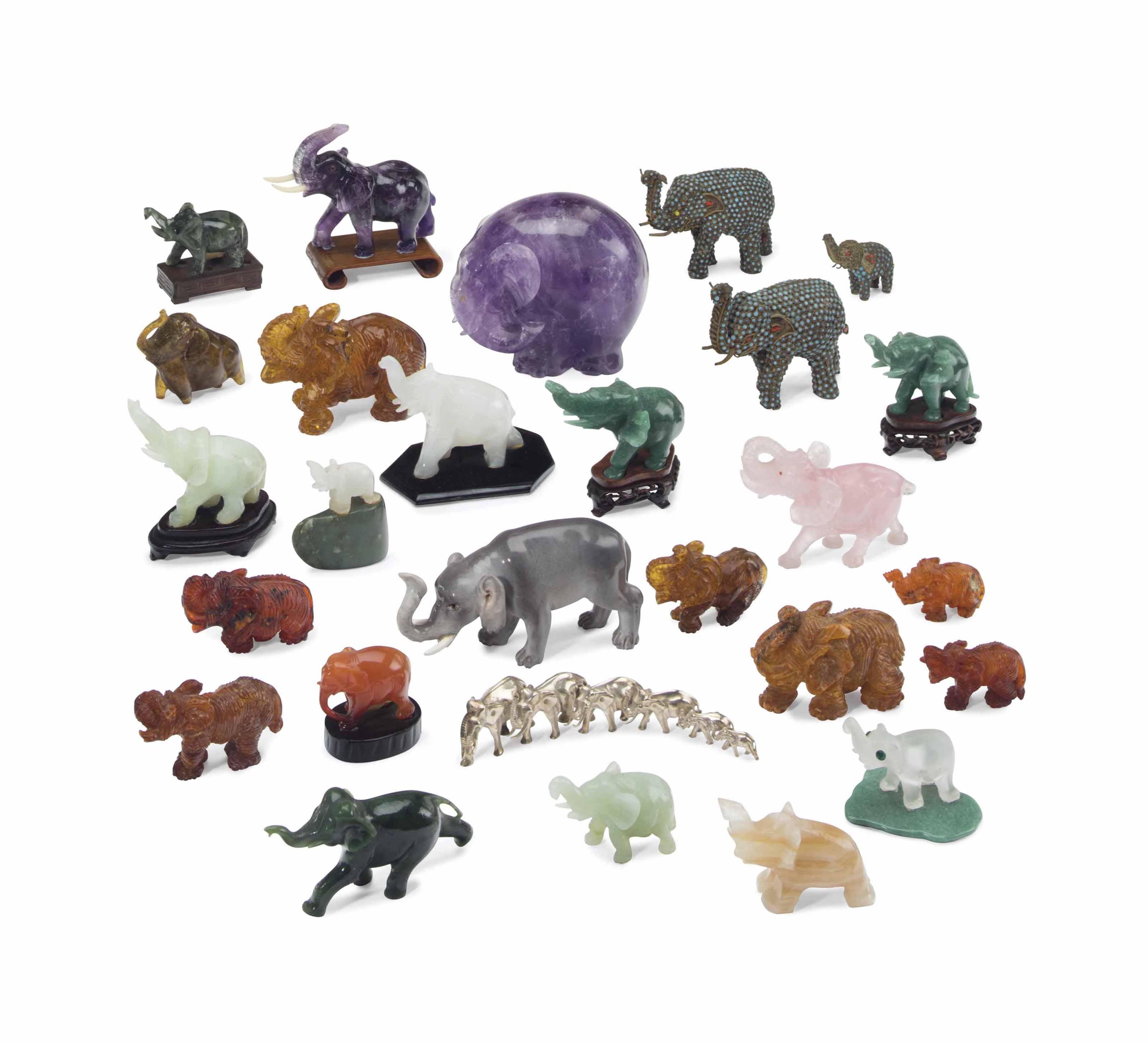 MRS. RONALD REAGAN A COLLECTION OF TWENTY-SEVEN MODELS OF ELEPHANTS