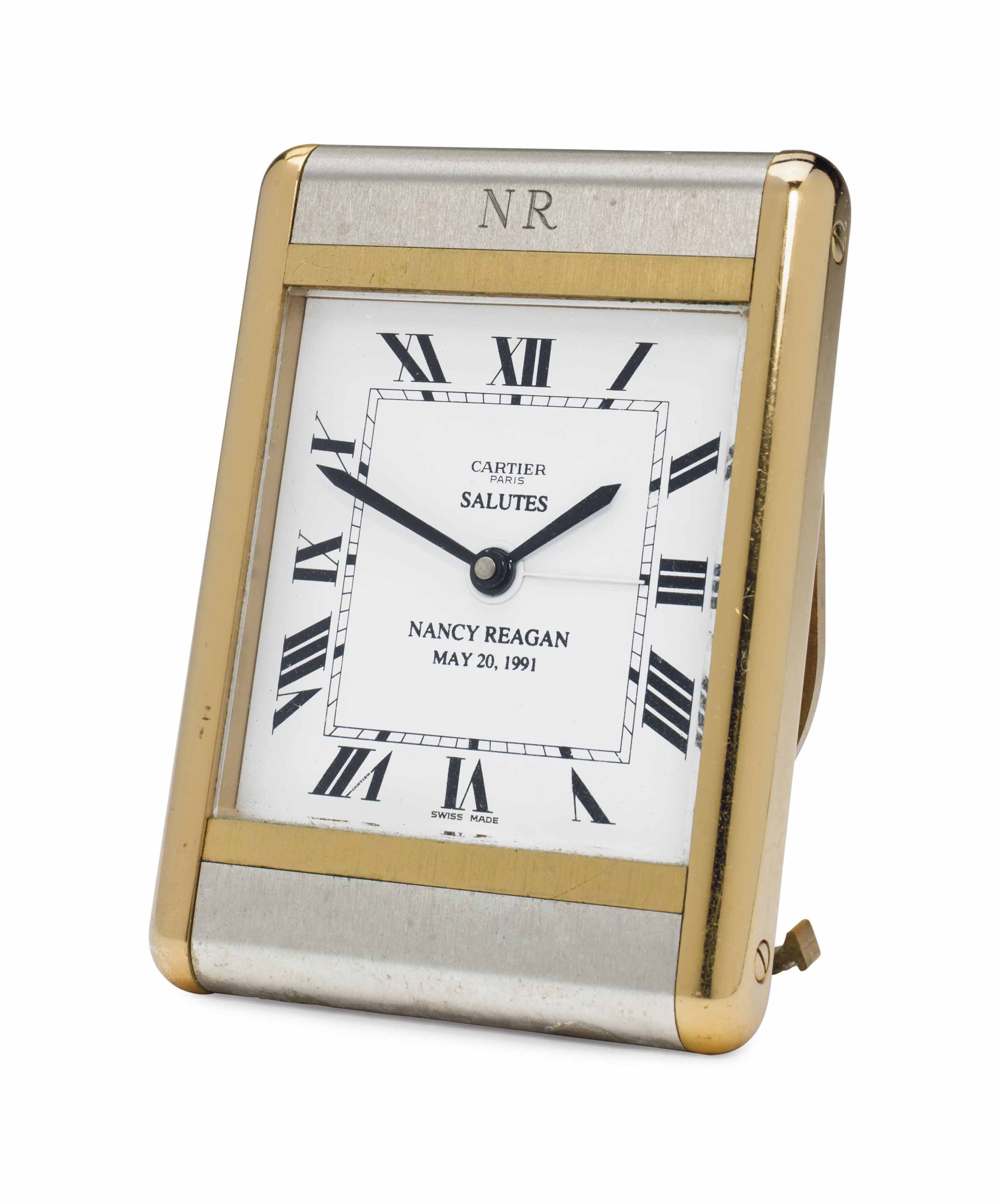 MRS RONALD REAGAN A SWISS QUARTZ BRUSHED STEEL AND BRASS TRAVEL