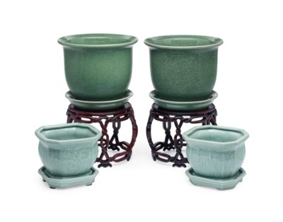 TWO PAIRS OF CHINESE GREEN-GLA