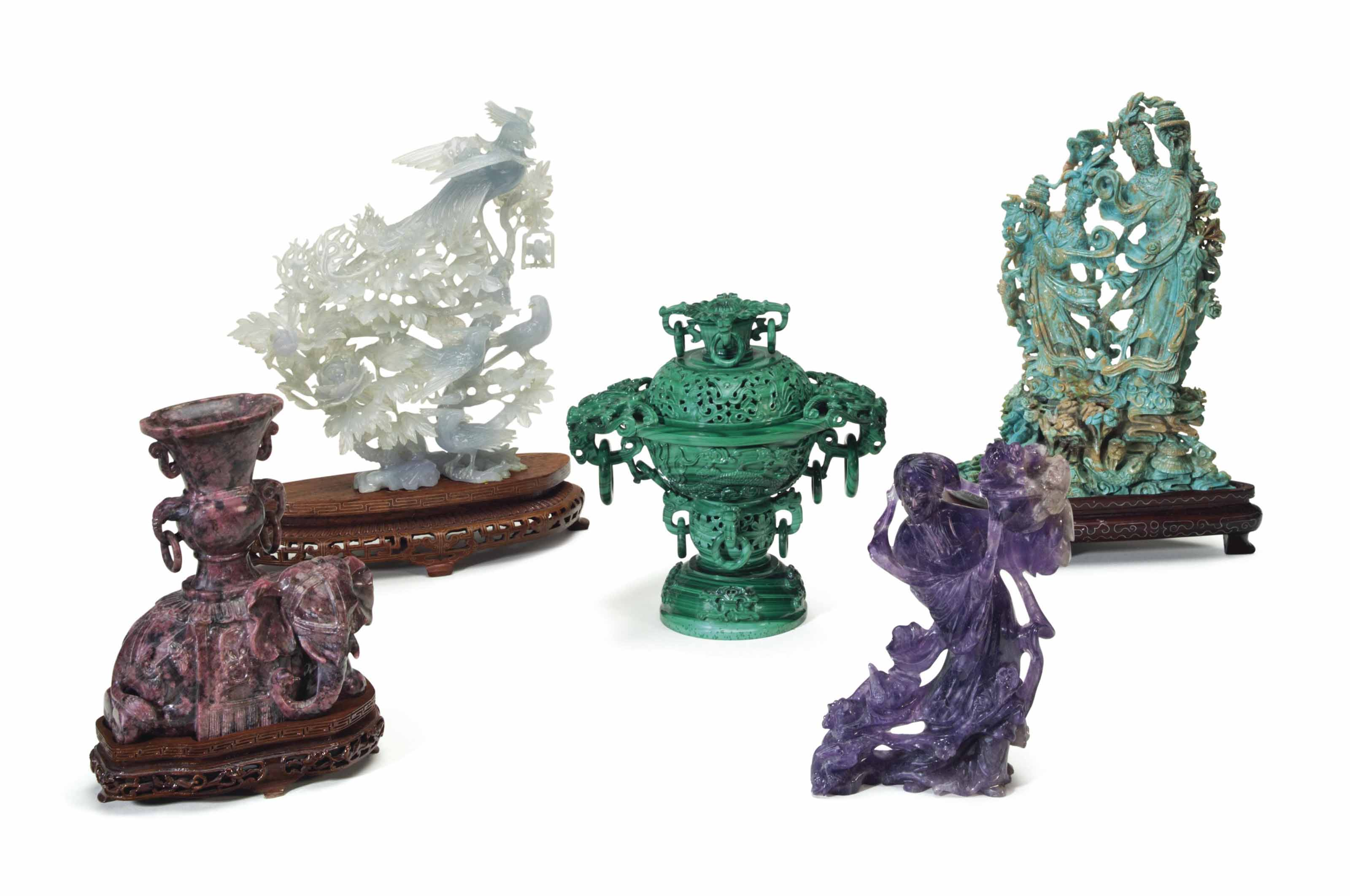 FIVE CHINESE HARDSTONE CARVING