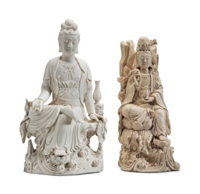 TWO CHINESE DEHUA FIGURES OF S