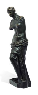 A FRENCH PATINATED-BRONZE FIGU