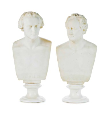 A PAIR OF WHITE MARBLE BUSTS O