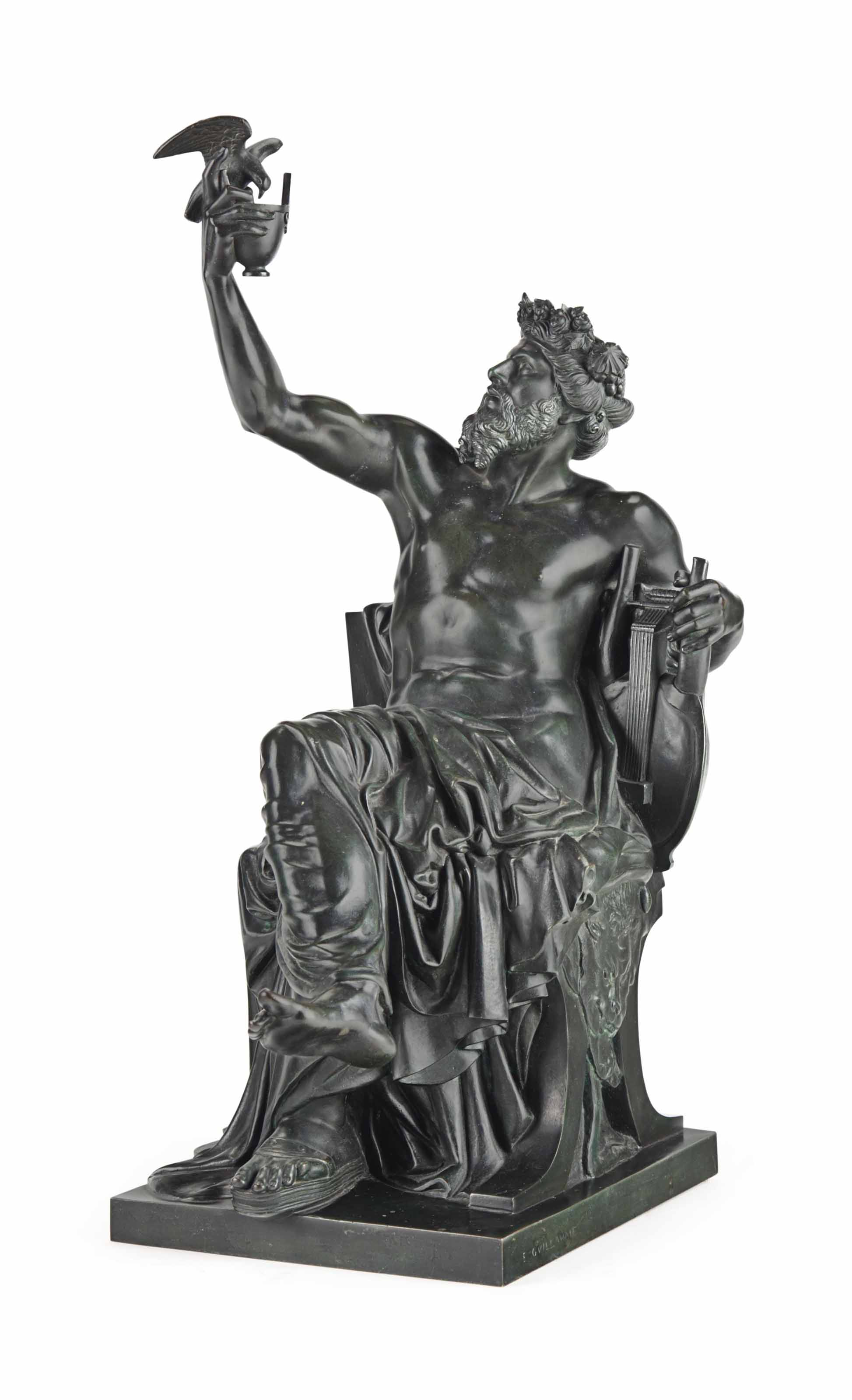 A FRENCH PATINATED-BRONZE OF A
