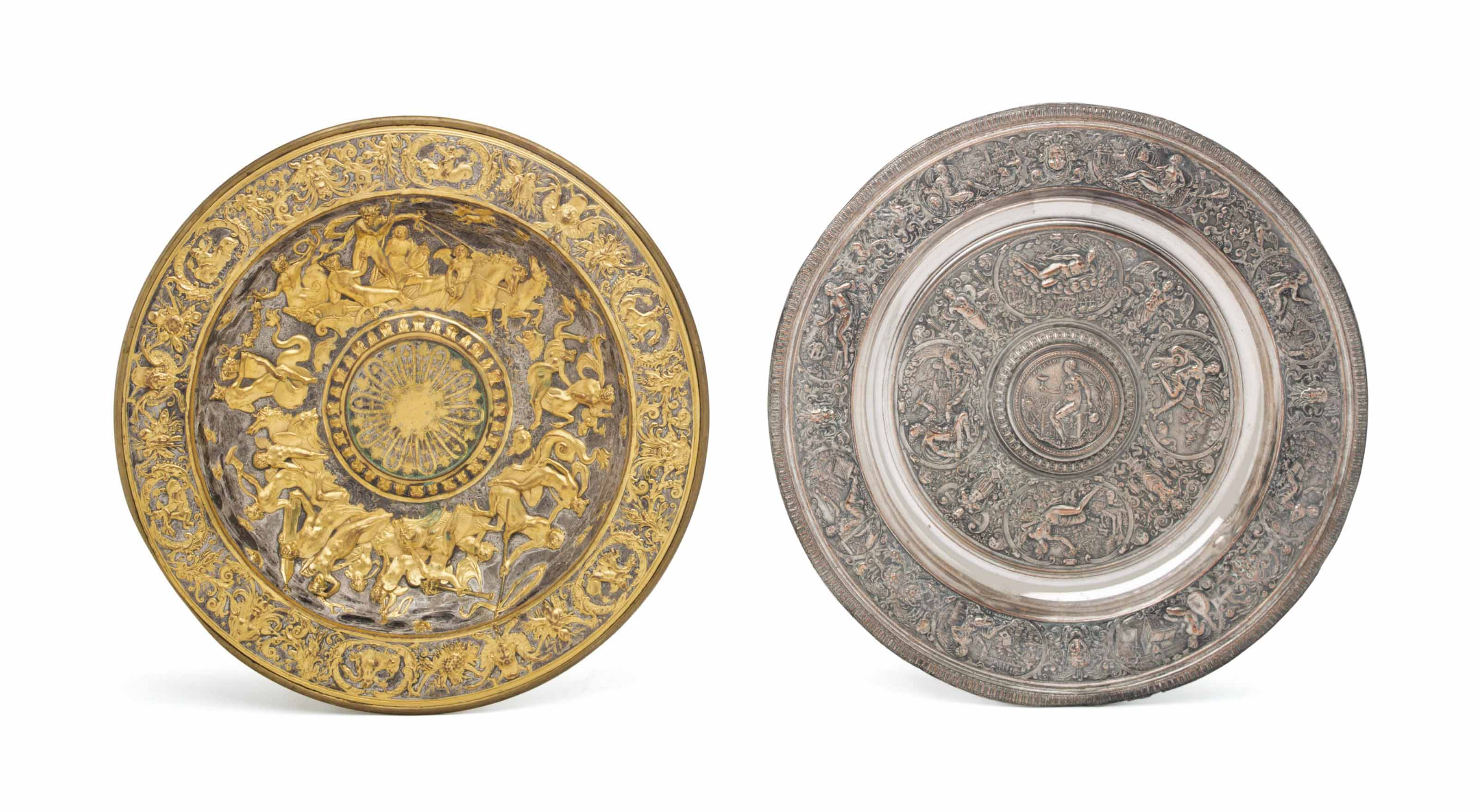 A GILT AND SILVERED-METAL CHAR