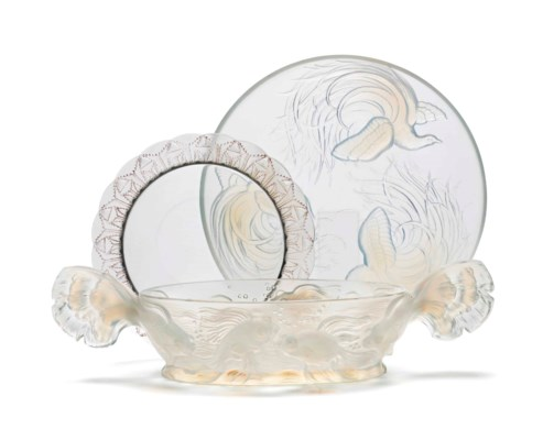 THREE FRENCH MOLDED GLASS BOWL