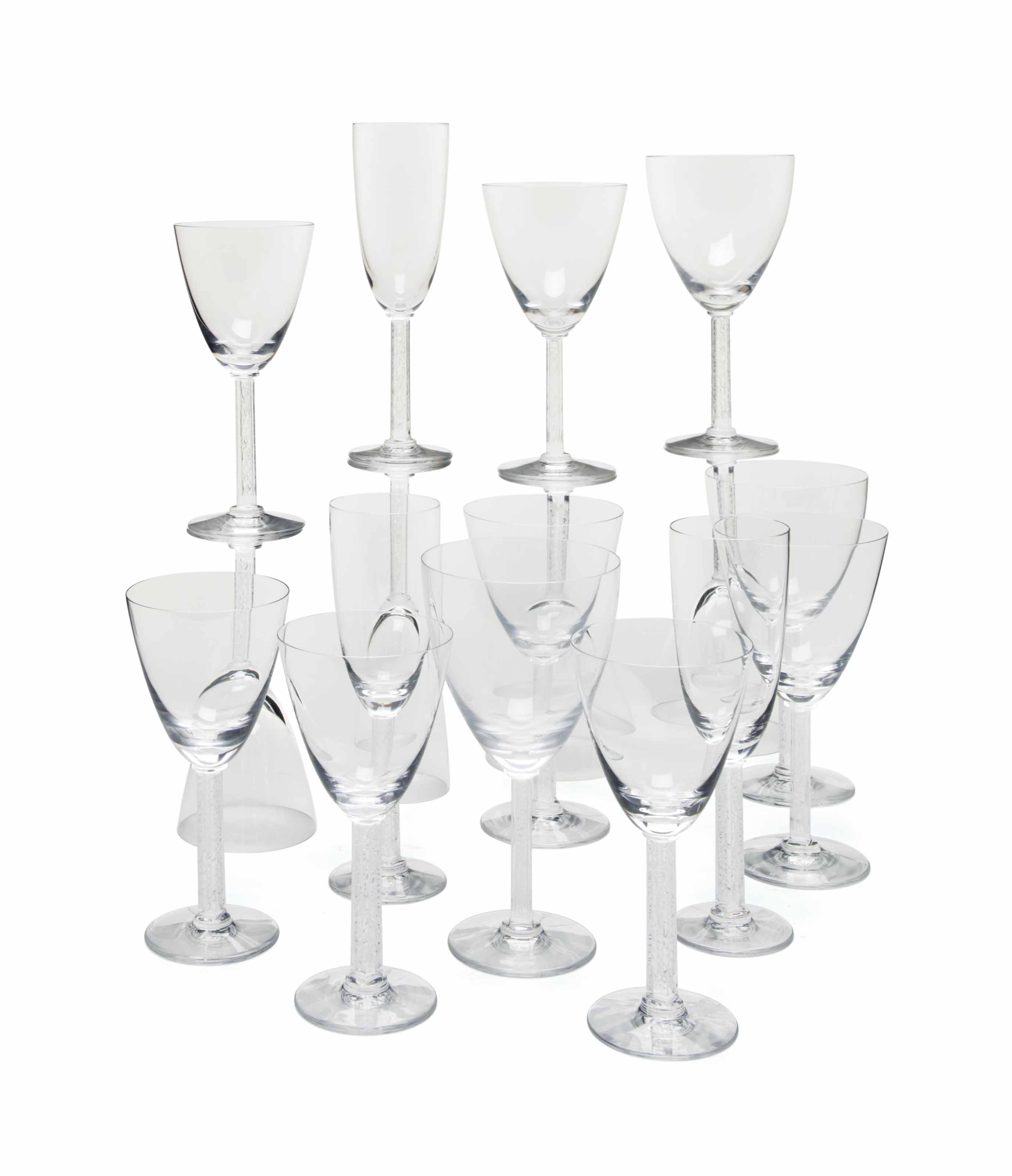 A FRENCH ETCHED AND COLORLESS GLASS PART STEMWARE SERVICE