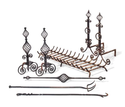 A PAIR OF WROUGHT-IRON OPENWOR