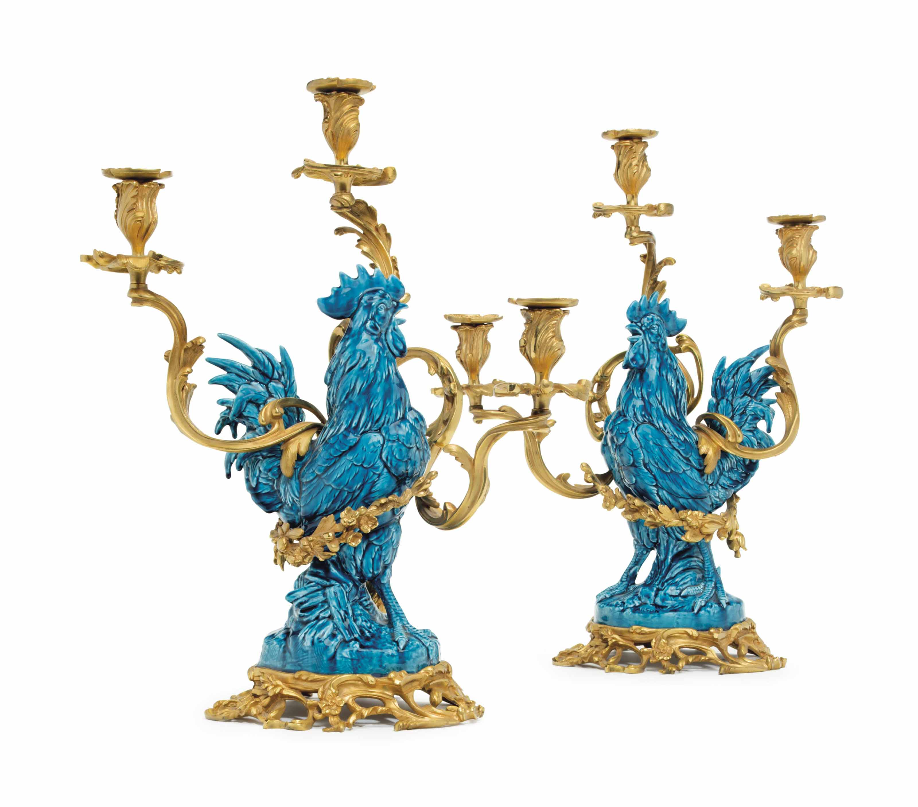 A PAIR OF FRENCH FAIENCE TURQU
