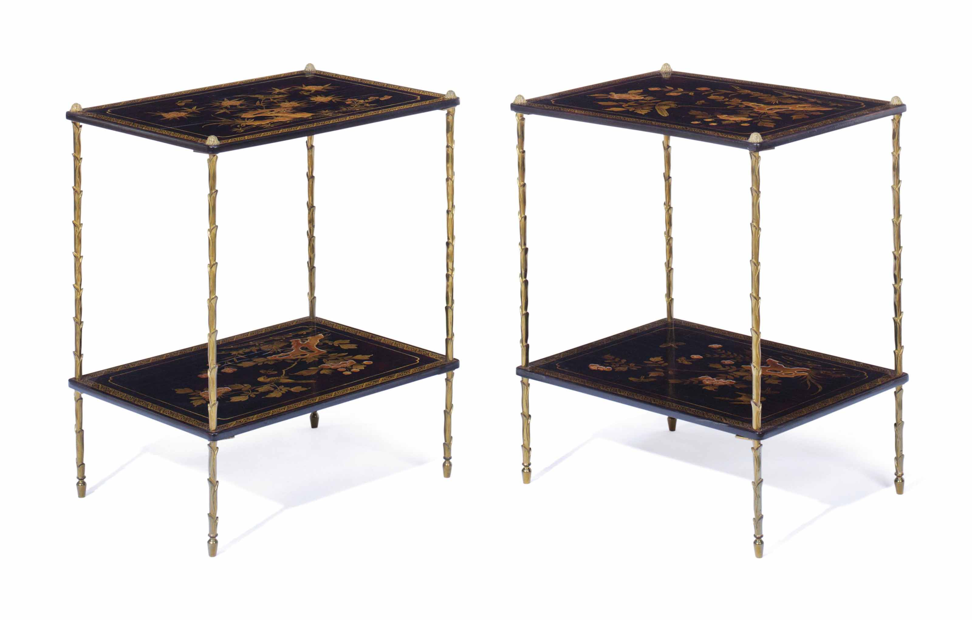 A PAIR OF JAPANNED AND GILT-BR