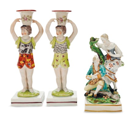 TWO STAFFORDSHIRE PEARLWARE MA