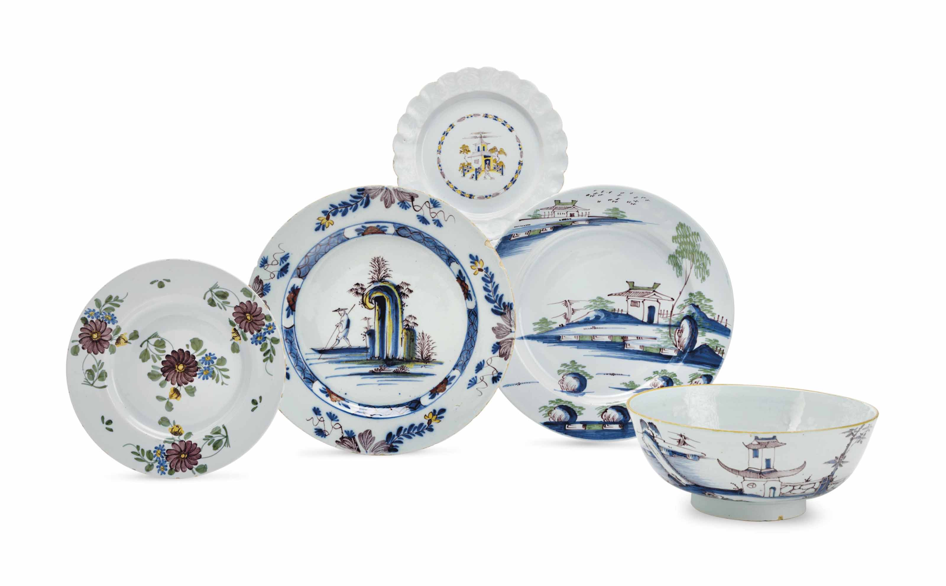 THREE BRISTOL DELFT CHINOISERI