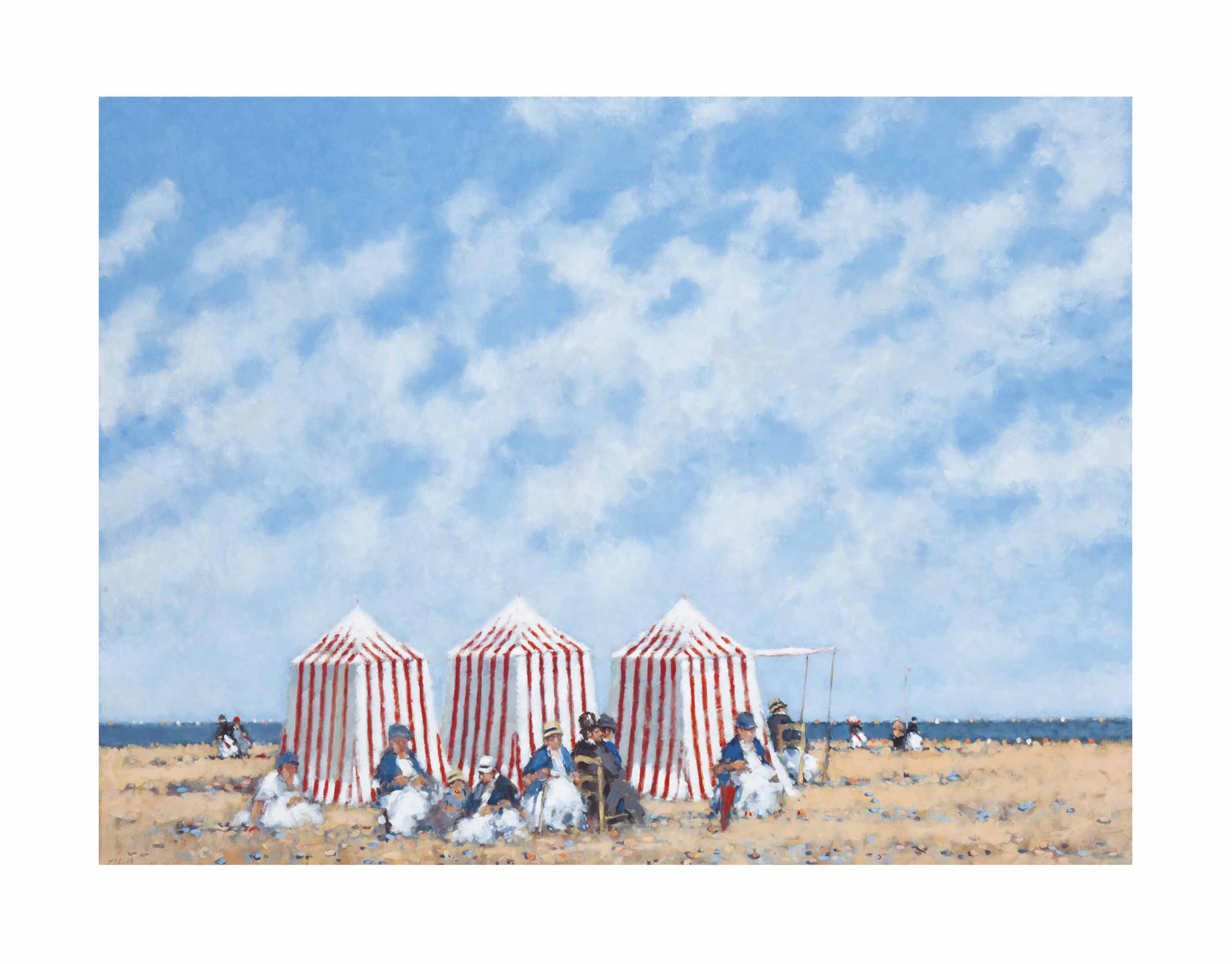 Figures with cabanas at the beach