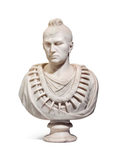 AN AMERICAN WHITE MARBLE BUST