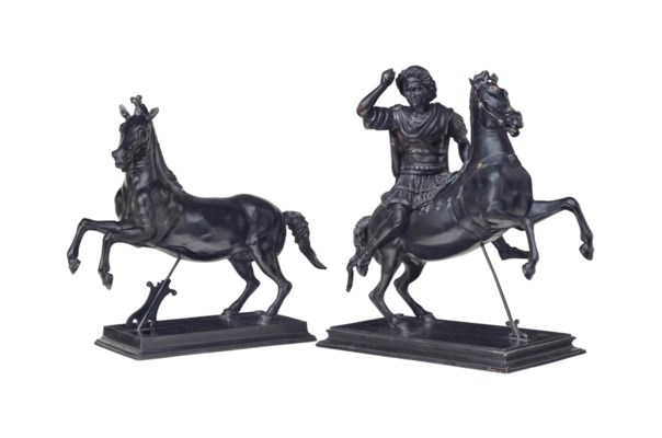 TWO ITALIAN PATINATED BRONZE E
