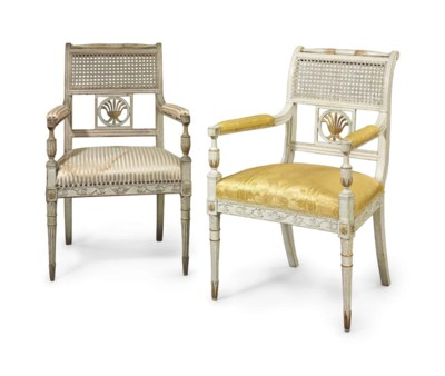 A PAIR OF GEORGE III PAINTED A