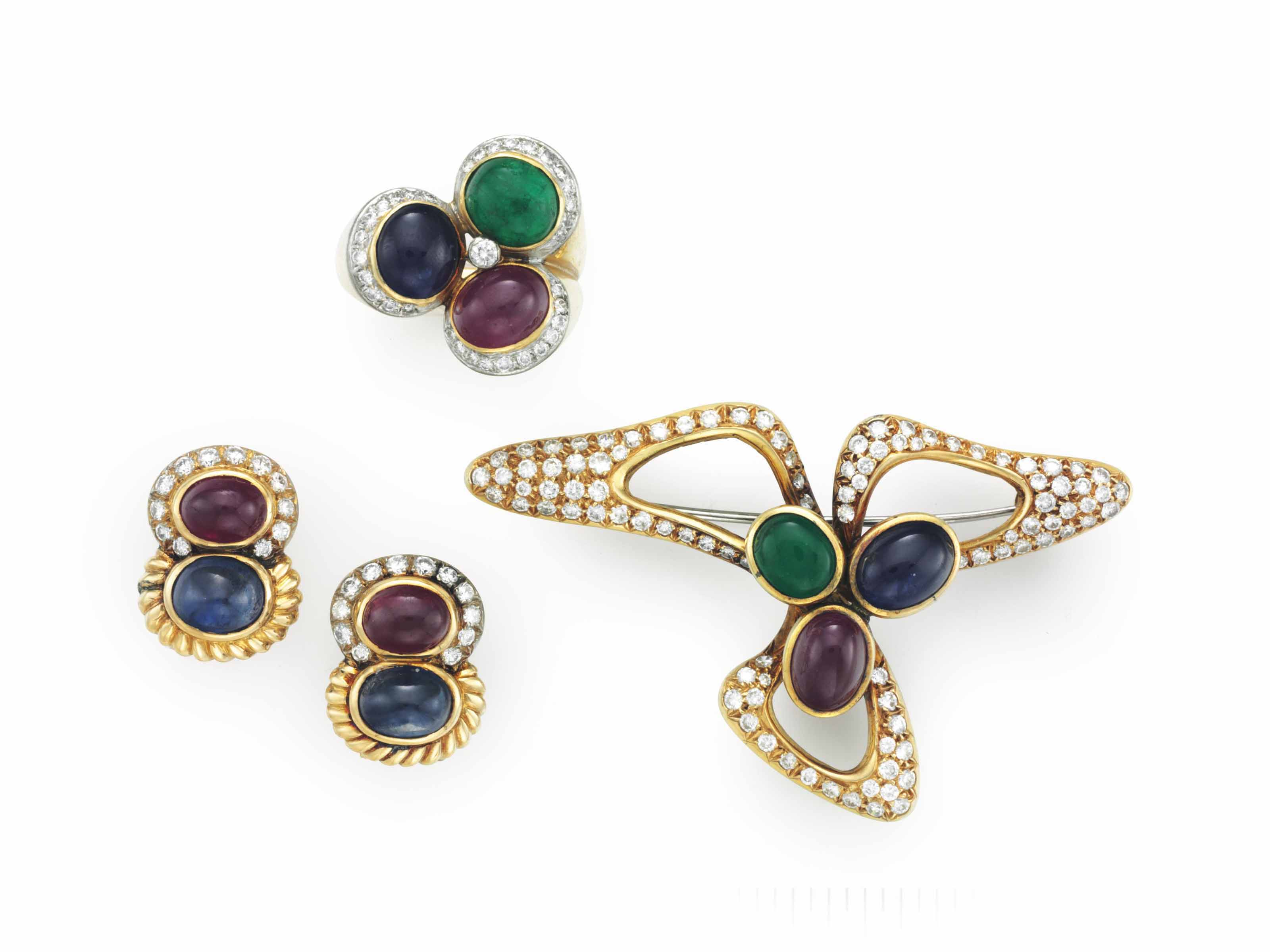 A SUITE OF 18K YELLOW GOLD AND MULTI-GEM JEWELRY