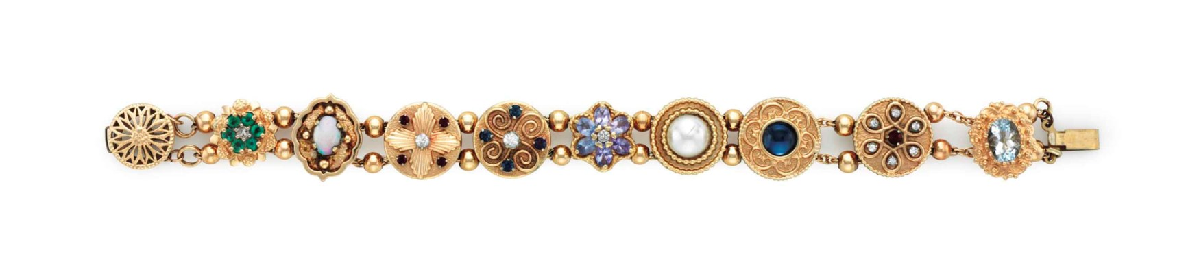 A 14K YELLOW GOLD AND PRECIOUS