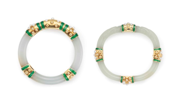TWO 18K YELLOW GOLD AND ENAMEL