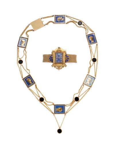 AN 18K YELLOW GOLD AND ENAMEL