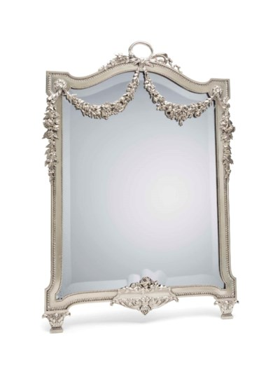 A FRENCH SILVER TABLE MIRROR